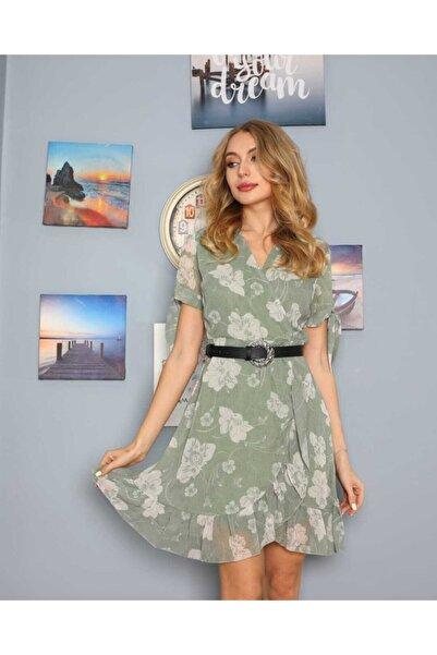 NİCE Kadın Yeşil Çiçek Desenli V Yaka Şifon Elbise