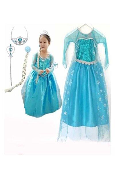 DEHAMODA Kız Çocuk Mavi Uzun Kol Simli Frozen Taç Asa Saç Elsa Elbise