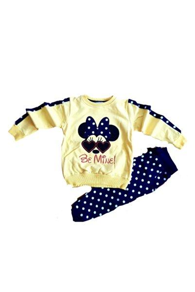 Mickey Mouse Kız Çocuk Sarı Puantiyeli Eşofman Takımı