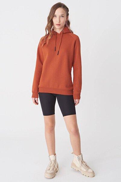 Kadın Kiremit Kapşonlu Sweatshirt