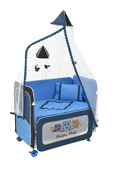 Happy Baby Mavi Anne Yanı Plus Asansörlü Beşik