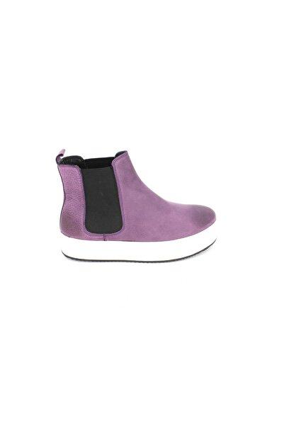 Nuans Deri Kadın Mor Sneaker Ayakkabı