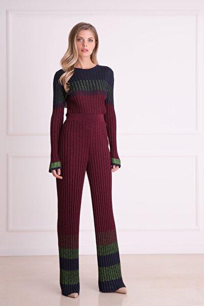 xGIZIA Kadın Mürdüm Rengi Fitilli Triko Kumaş Pantolon