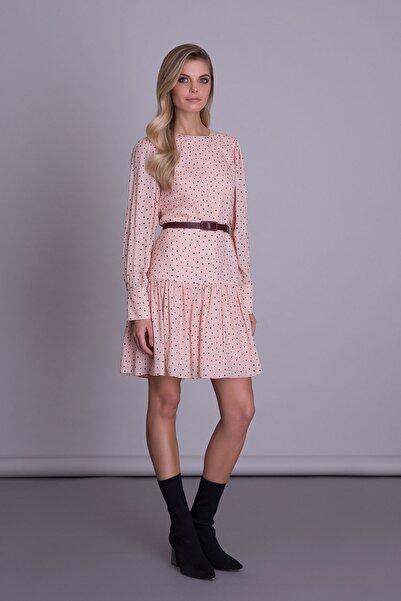 GIZIA CASUAL Kadın Pudra Puantiye Desenli Kemerli Renk Mini Elbise