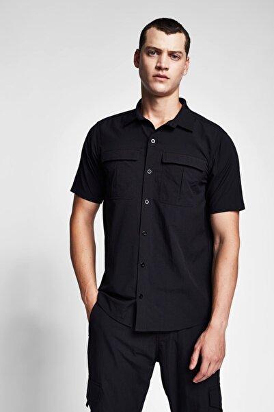 Lescon Erkek Siyah Outdoor Kısa Kol Gömlek