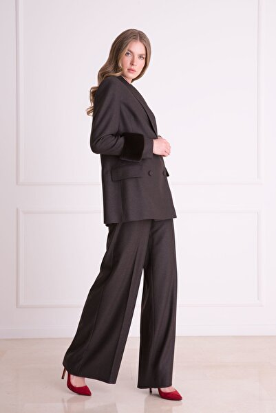 xGIZIA Kadın Kahverengi  Bol Paça Kumaş Pantolon