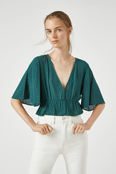 Pull & Bear Kadın Cam Yeşili Dotted Mesh V-Neck Blouse 09470354