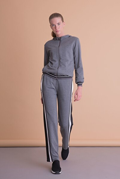 xGIZIA Kadın Gri Şerit File Detaylı Antrasit Spor Pantolon