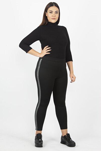Şans Kadın Siyah Yanları Sim Şerit Detaylı Kalın Viskon Kumaş Tayt Pantolon 65N18199