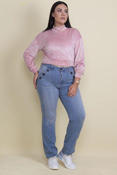 Şans Kadın Mavi Düğme Ve Cep Detaylı Likralı Kot Pantolon 65N18144