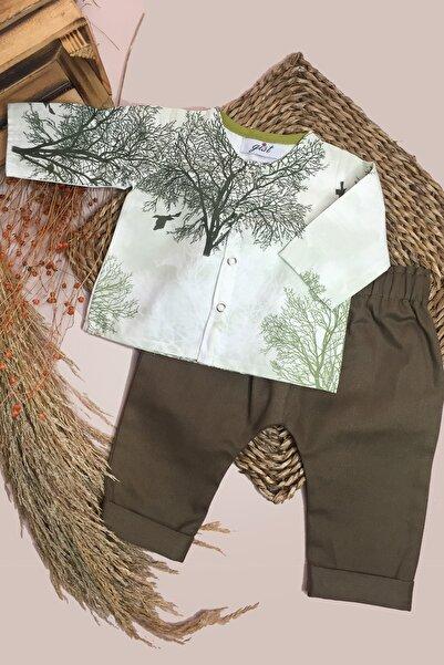 GİST Erkek Bebek Haki Gabardin Pantolon Ağaç Desenli Gömlek Takım