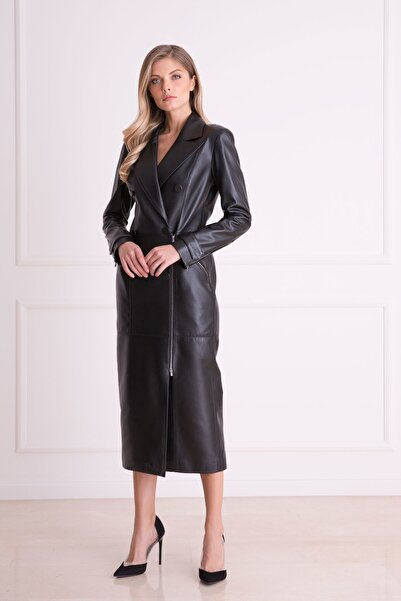 xGIZIA Kadın Siyah Fermuar Detaylı Uzun Deri Elbise