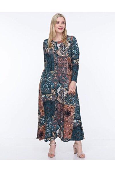 Şirin Butik Kadın Mavi Etnik Desen Yaka Pervazlı Viskon Elbise