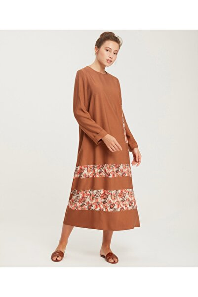 Aker Kadın Tarçın Büyük Beden Garnili Elbise Y47090198