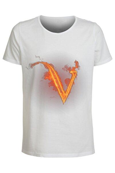 ABC Kadın Beyaz V Harfı Baskılı Büyük Beden T-Shirt