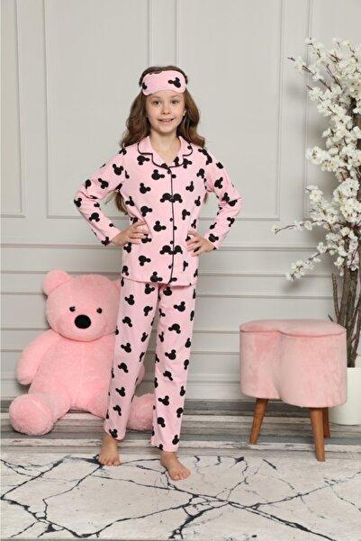 ASEL PİJAMALARI Kız Çocuk Pembe Mickey Desenli Pijama Takımı