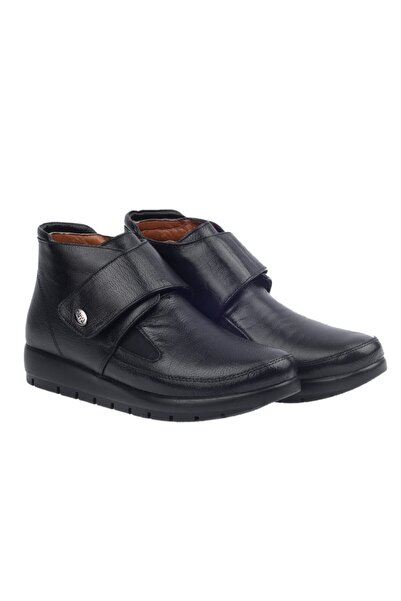 Muya Siyah Deri Büyük Numara Cırtlı Anne Bot Ayakkabı 50378-3434