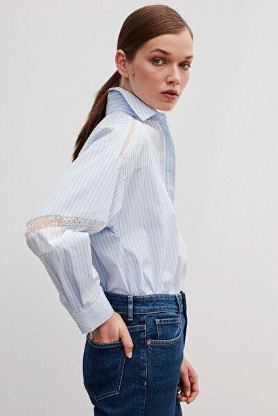 İpekyol Kadın Mavi Dantel Şeritli Gömlek