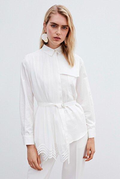 İpekyol Kadın Beyaz Pilili Gömlek IW6200025064096