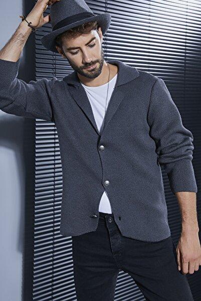 Sateen Men Erkek Antrasit Düğmeli Triko Ceket