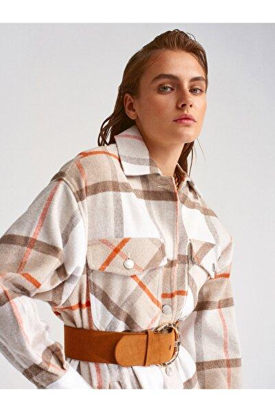 Dilvin Kadın Bej Oduncu Gömlek 5688