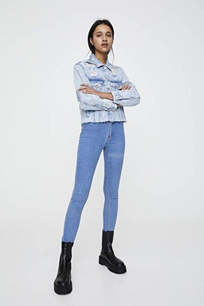 Pull & Bear Kadın Soluk Mavi Yüksek Bel Skinny Jean 09684309
