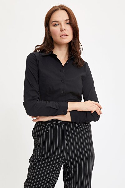 DeFacto Kadın Siyah Uzun Kollu Gömlek I5278AZ.20AU.BK27