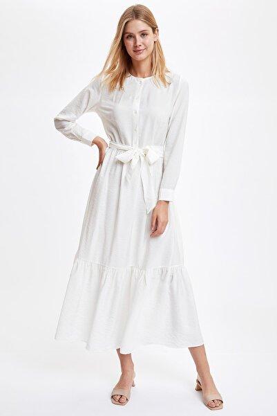 DeFacto Kadın Ecru Düğme Detaylı Kuşaklı Dokuma Elbise R3520AZ20AU