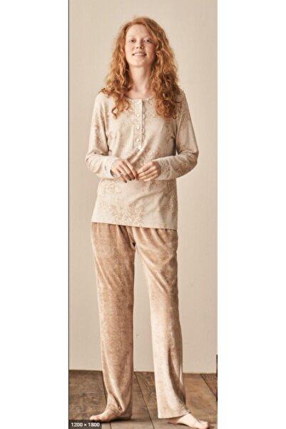 Feyza Pijama Kadın Bej Pijama Takımı