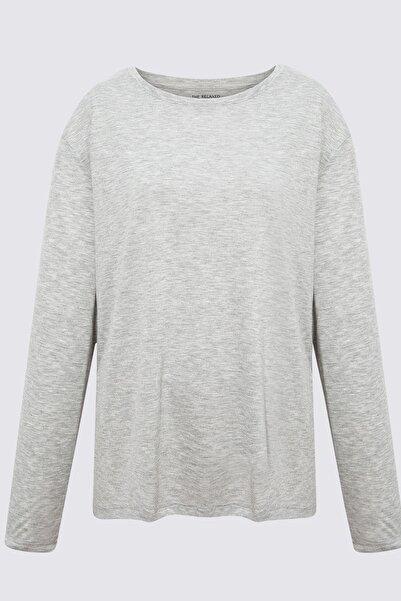Marks & Spencer Kadın Gri Relaxed Uzun Kollu T-Shirt T41004770H
