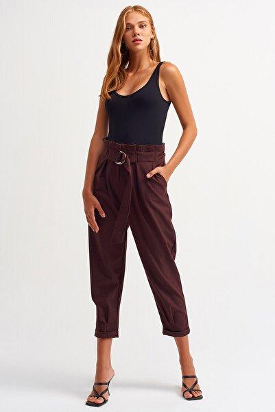 Dilvin Kadın Bordo Kemeri Rahat Pantolon 4604