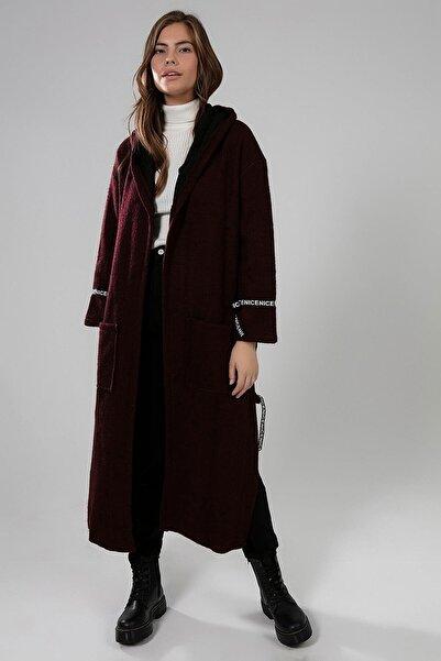Y-London Kadın Bordo Yanları Yırtmaçlı Şerit Detaylı Kapüşonlu Uzun Hırka