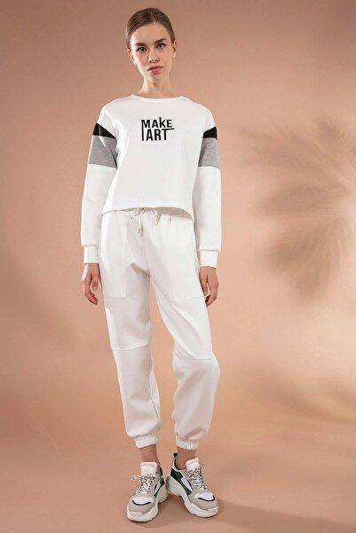 Y-London Kadın Beyaz Torba Cep Detaylı Paçası Lastikli Eşofman Altı Y20W166-3885
