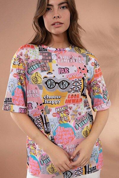 Y-London Kadın Beyaz Baskılı Duble Kol Boyfriend Tişört Y20S110-4165