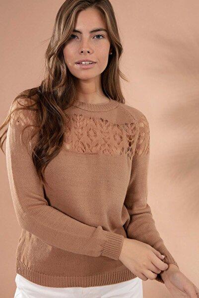 Y-London Kadın Camel Bisiklet Yaka Ajurlu Triko Kazak Y20W106-0582