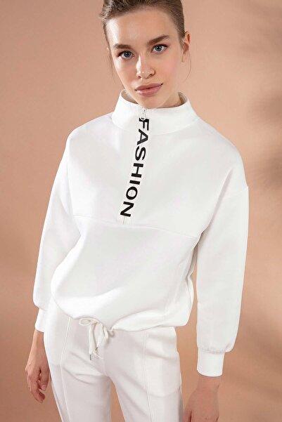 Y-London Kadın Beyaz Dik Yaka Fermuarlı Sweatshirt Y20W166-3456