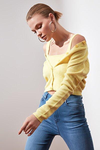TRENDYOLMİLLA Sarı Bluz Hırka Triko Takım TWOAW21HI0107