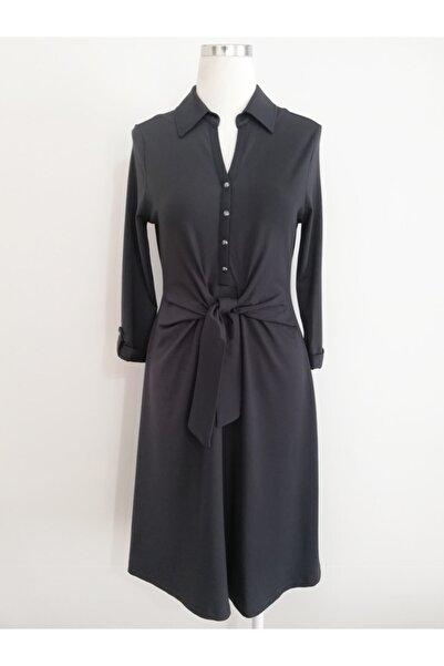 Vekem Kadın Lacivert Uzun Kollu Belden Bağlamalı Elbise