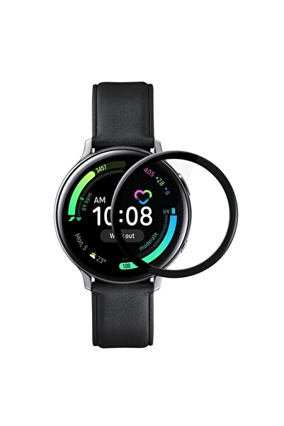 Microsonic Samsung Galaxy Watch Active 2 44mm Tam Kaplayan Temperli Cam Full Ekran Koruyucu Siyah
