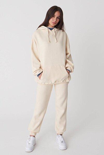 Addax Kadın Taş Kapüşonlu Sweatshirt ADX-0000014040