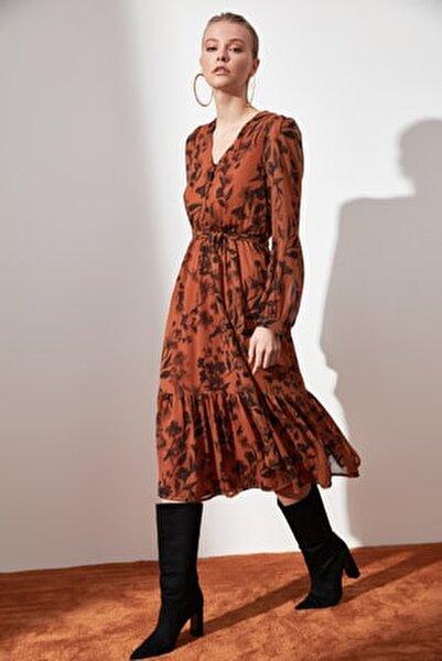 Camel Kuşaklı Desenli Elbise TWOAW21EL0384