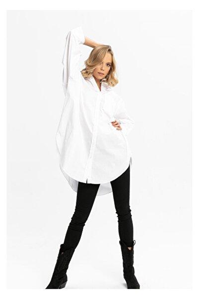 TIFFANY&TOMATO Kadın Beyaz Poplin Uzun Gömlek