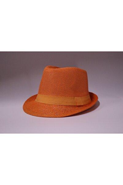 şapka dünyası Unisex Turuncu Lüx Hasır Fötr Şapka