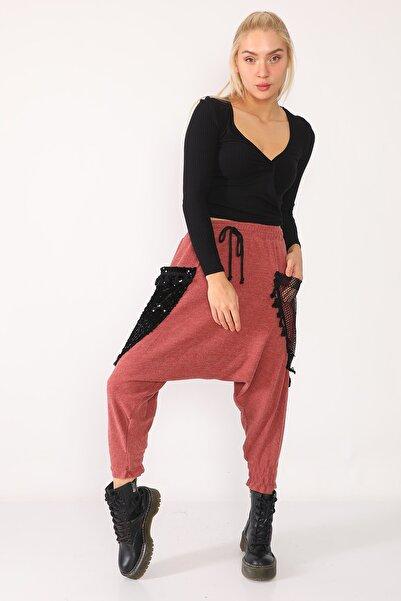 PodiumStar Bakır Pul Ve File Detaylı Triko Şalvar Pantolon
