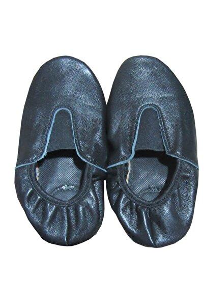 salarticaret Deri Pisipisi Siyah Renk Deri Tabanı Kaydırmaz Bale Ayakkabısı
