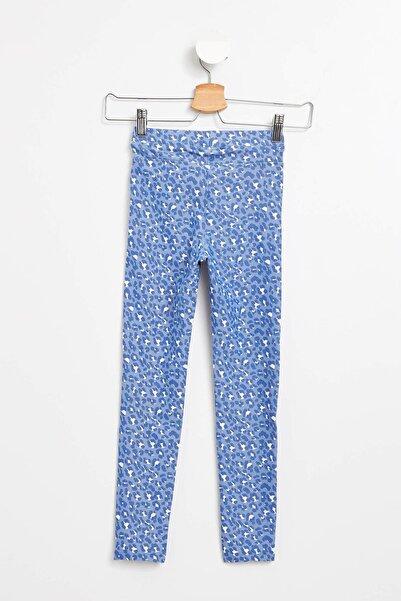 Mavi Kız Çocuk Desenli Slim Fit Tayt