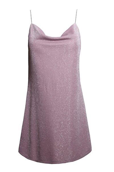 Keikei Kadın Pembe Askılı Mini Elbise
