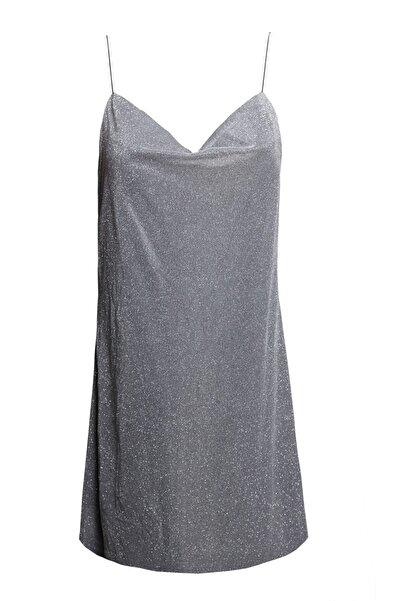 Keikei Kadın Gri Askılı Mini Elbise