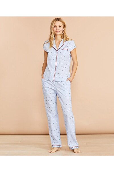 BROOKS BROTHERS Kadın Mavi Desenli Pijama Takımı