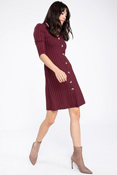DeFacto Kadın Dikey Çizgili Düğmeli Uzun Elbise K6771AZ.19SP.BR210